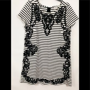 Anthropologie Postmark Black White Stripe Dress L